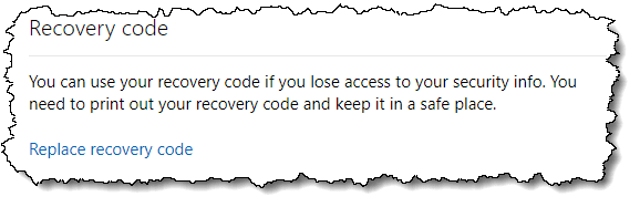 Recovery code