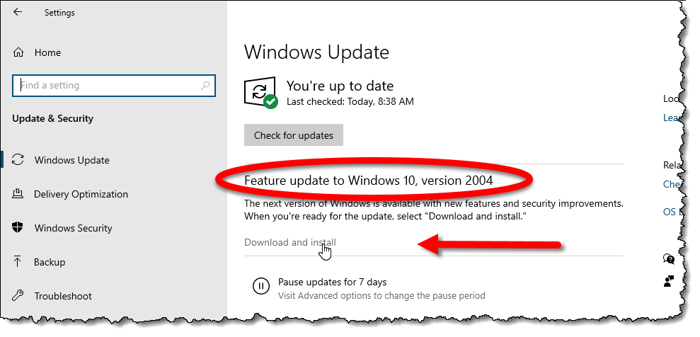 Windows Update with a Feature Update available