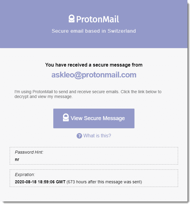 An encrypted message notification to a non-ProtonMail account