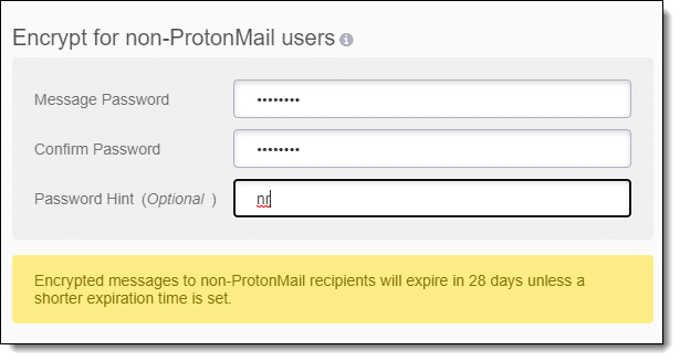 ProtonMail encrypting a message