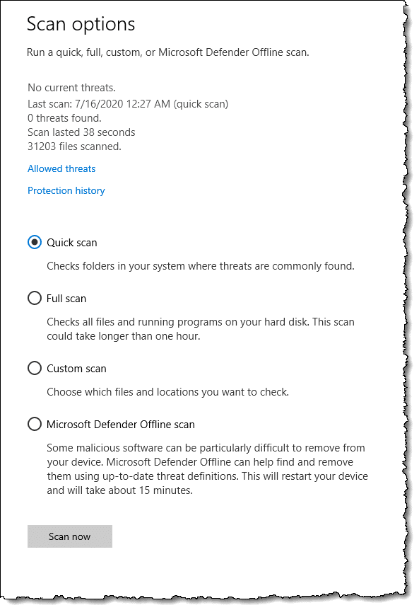 Windows Security - Scan options