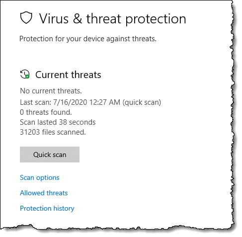 Windows Security - Virus & threat protection