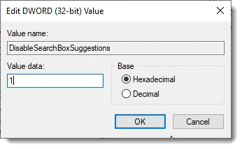 Editing the value of DisableSearchBoxSuggestions