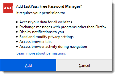 Permissions required by Lastpass being installed in Firefox