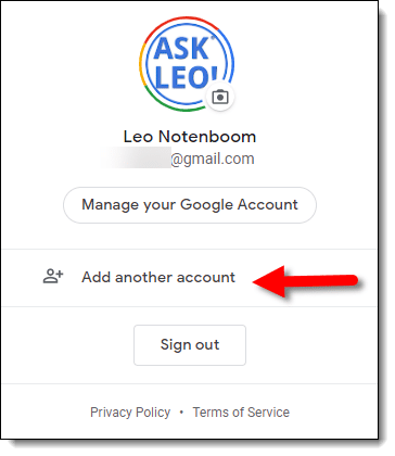 Adding another account in Google