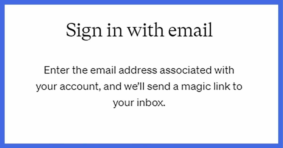 Sign in with email message
