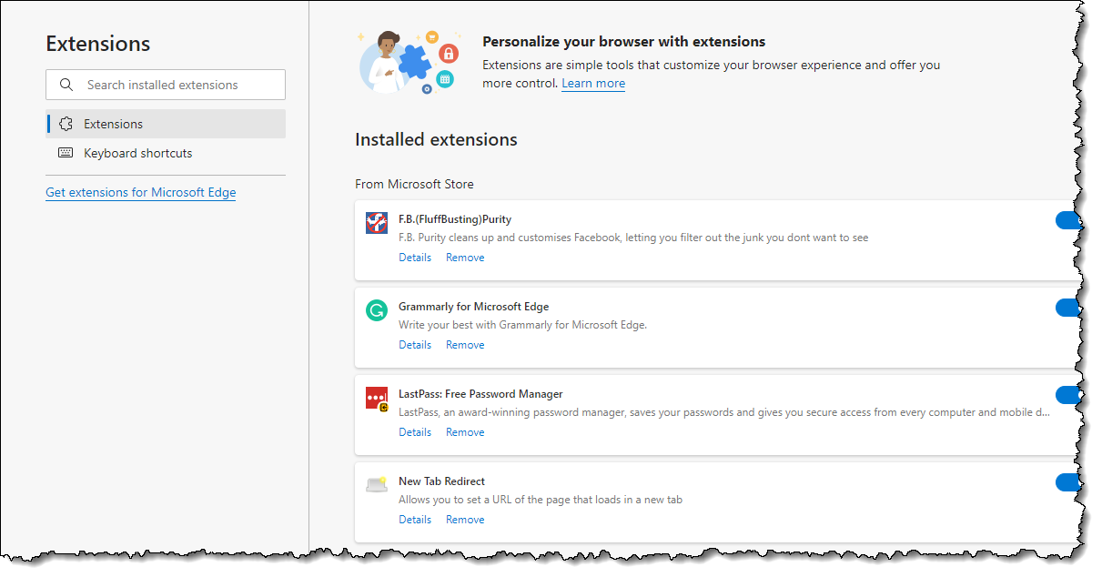 Extensions page in Microsoft Edge.