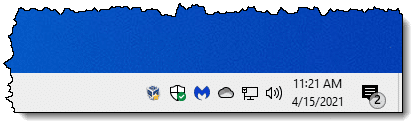 Taskbar notification area with more icons.