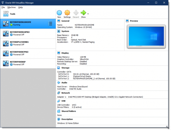 VirtualBox showing my list of available virtual machines.