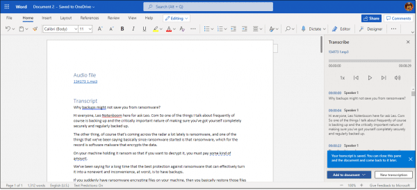 Transcription transferred to Word document.