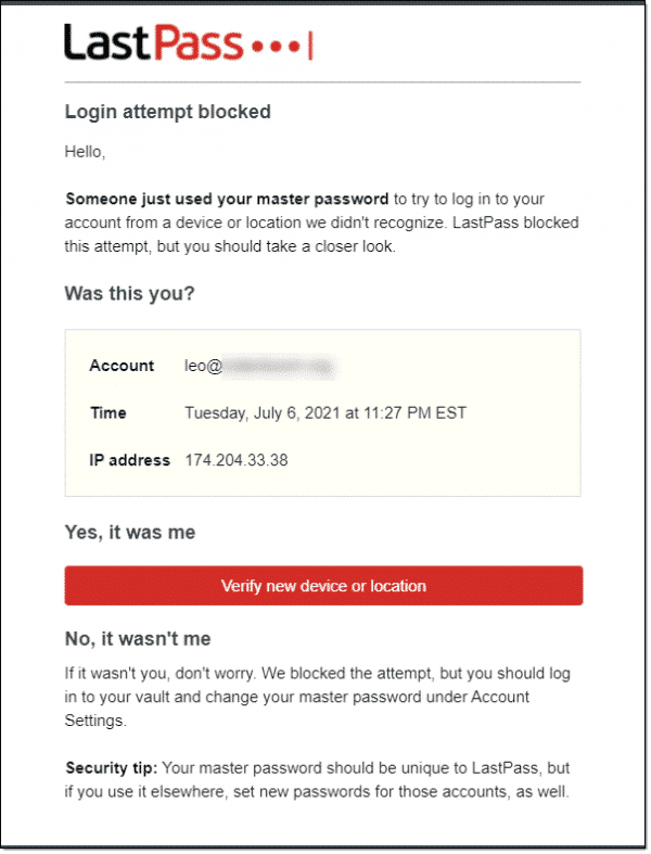 LastPass confirmation email.