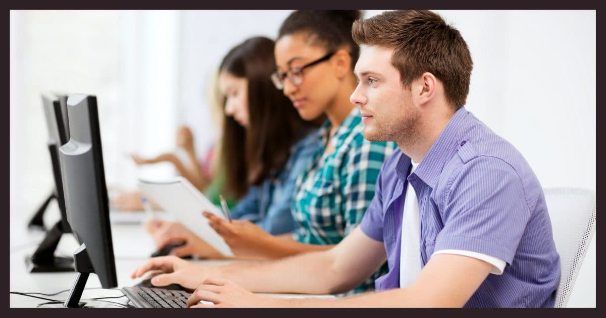 Using a computer at school.